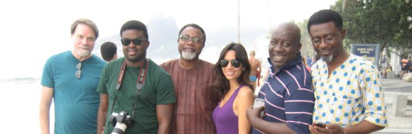 with Kunle Afolayan, Mahmood Ali Balogun, Maria Pereira, Zeb Ejiro, and Bond Emeruwa, Rio de Janeiro, 2012