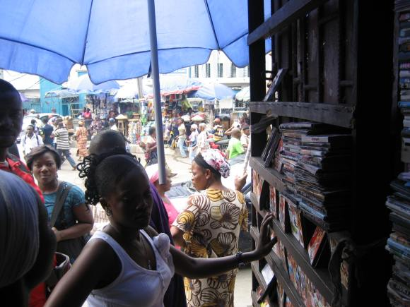 Entrance to Ebinpeju Lane, Idumota Market, Lagos--the original heart of Nollywood's distribution system