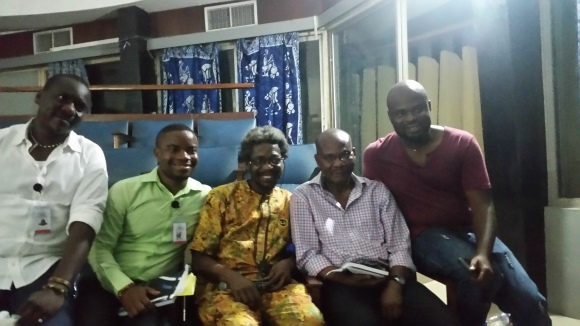 Media Studies in Nigeria: genesis and Detours conference, in honor of Hyginus Ekwuazi, University of Ibadan, Ibadan, Nigeria, November 2015. From left, Gabriel Ojakovo and Emeka Emelobe of KWASU, Professors Sola Olorunyomi and Hyginus Ekwuazi of UI, and director Chris Eneaji