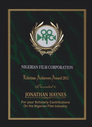 NFC award received at Zuma Film Festival, 2012